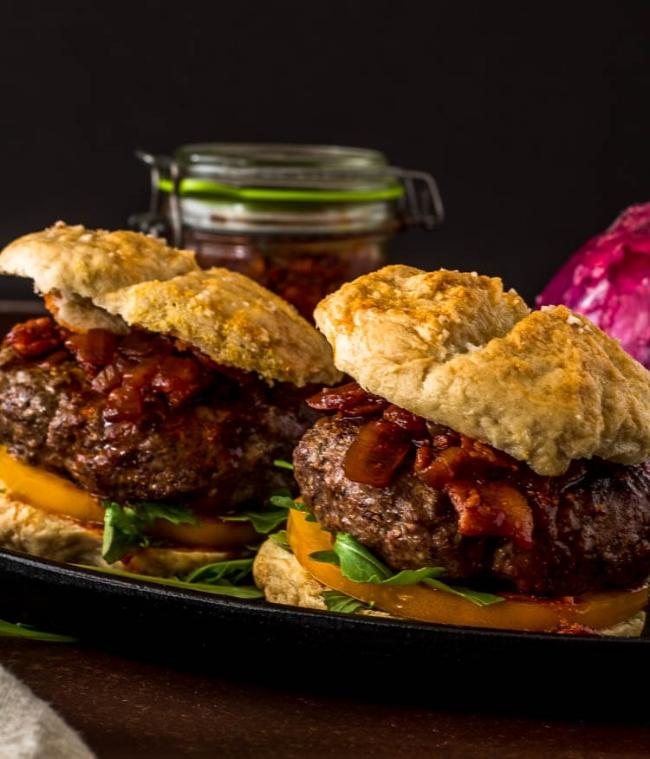 Umami Mushroom Burger with Bacon Jam | Beyond Mere Sustenance