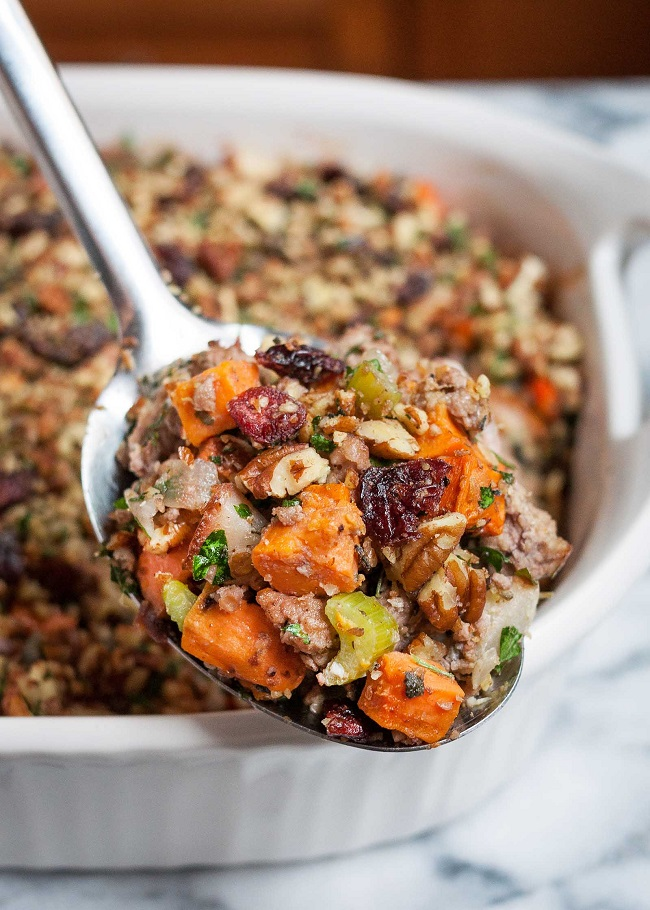 Sweet Potato and Pork Thanksgiving Stuffing | Simply Recipes