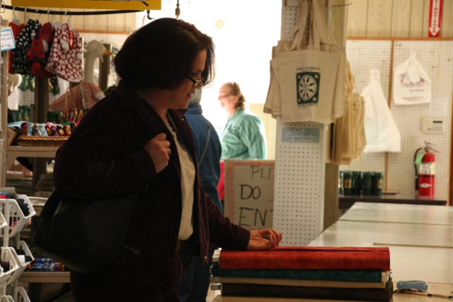 Stacey shopping at Zook's in Pennsylvania.