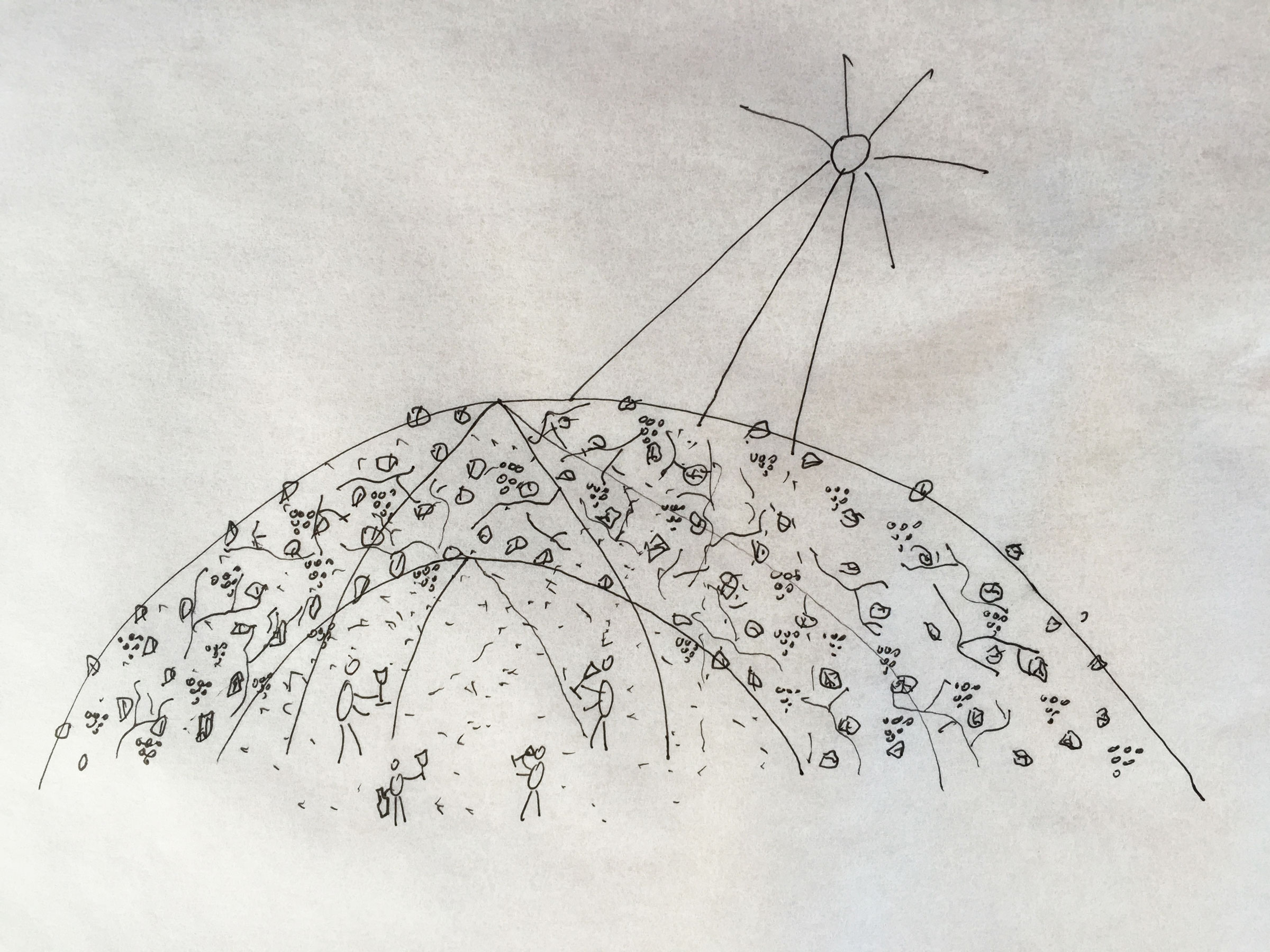 Copy of A thick shading spring dome made of vines.