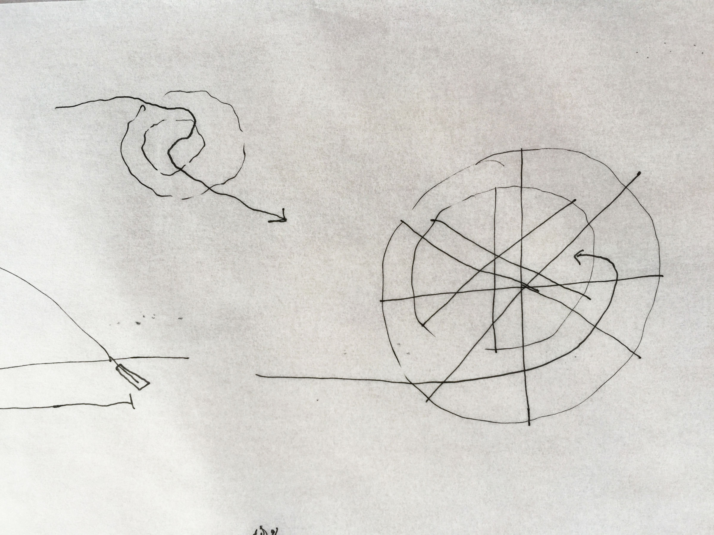Copy of One enters and goes out along the space in between both domes.