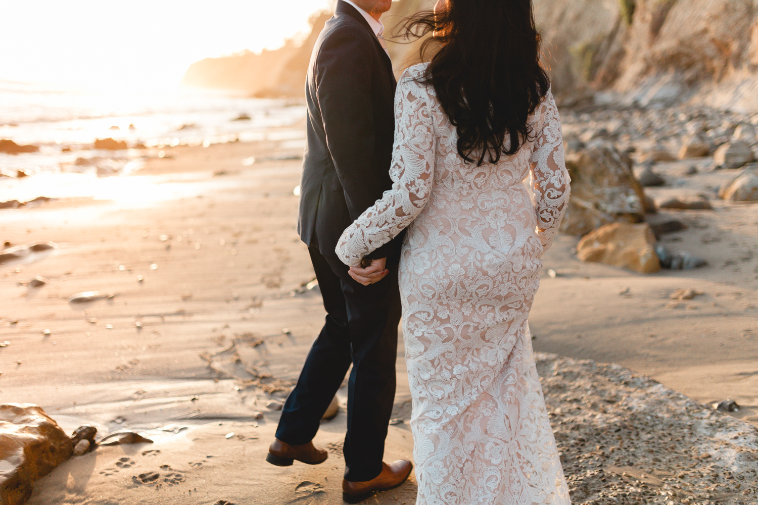 santa barbara wedding photographers beach candid moment