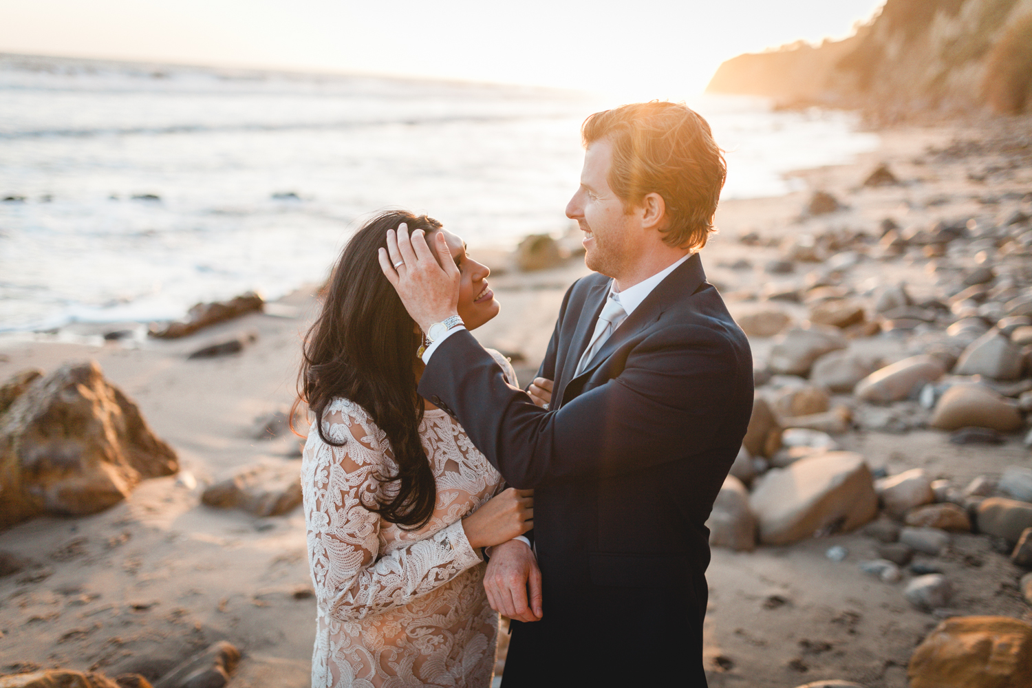 santa barbara wedding photographer beach candid moments