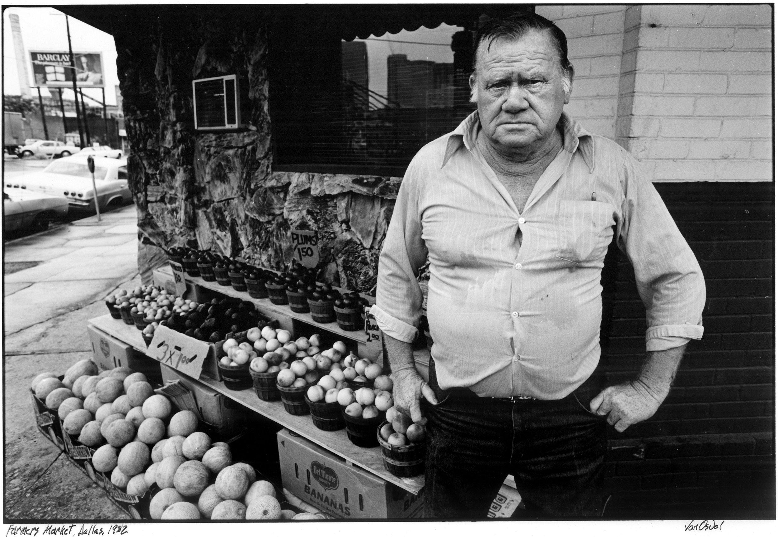 Peach Farmer at Market, Dallas, 1982