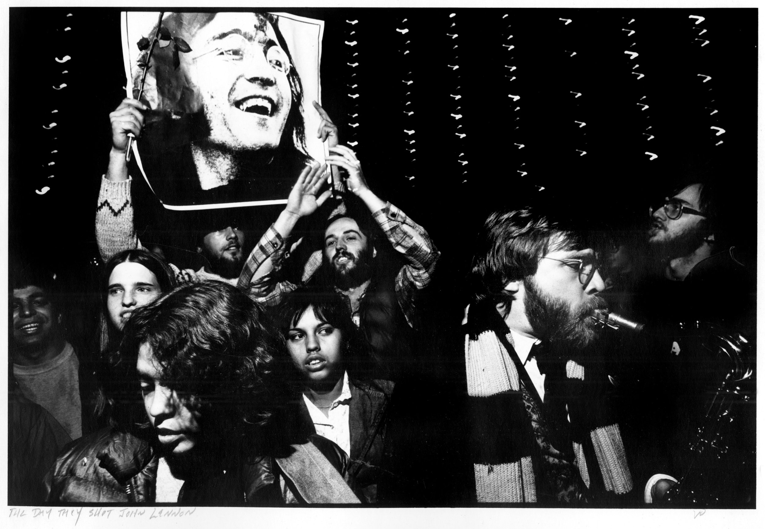 The Day John Lennon Died, December 8, 1980, Zilker Park, Austin. Published as spread in The Village Voice.