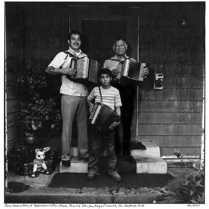 """Three Generations of Acordeonistas, San Antonio, Texas, 1978. Flaco, Don Santiago, and David Jimenez. The image is featured in Michael Corcoran's new book, """"All Over the Map—True Heroes of Texas Music"""""""