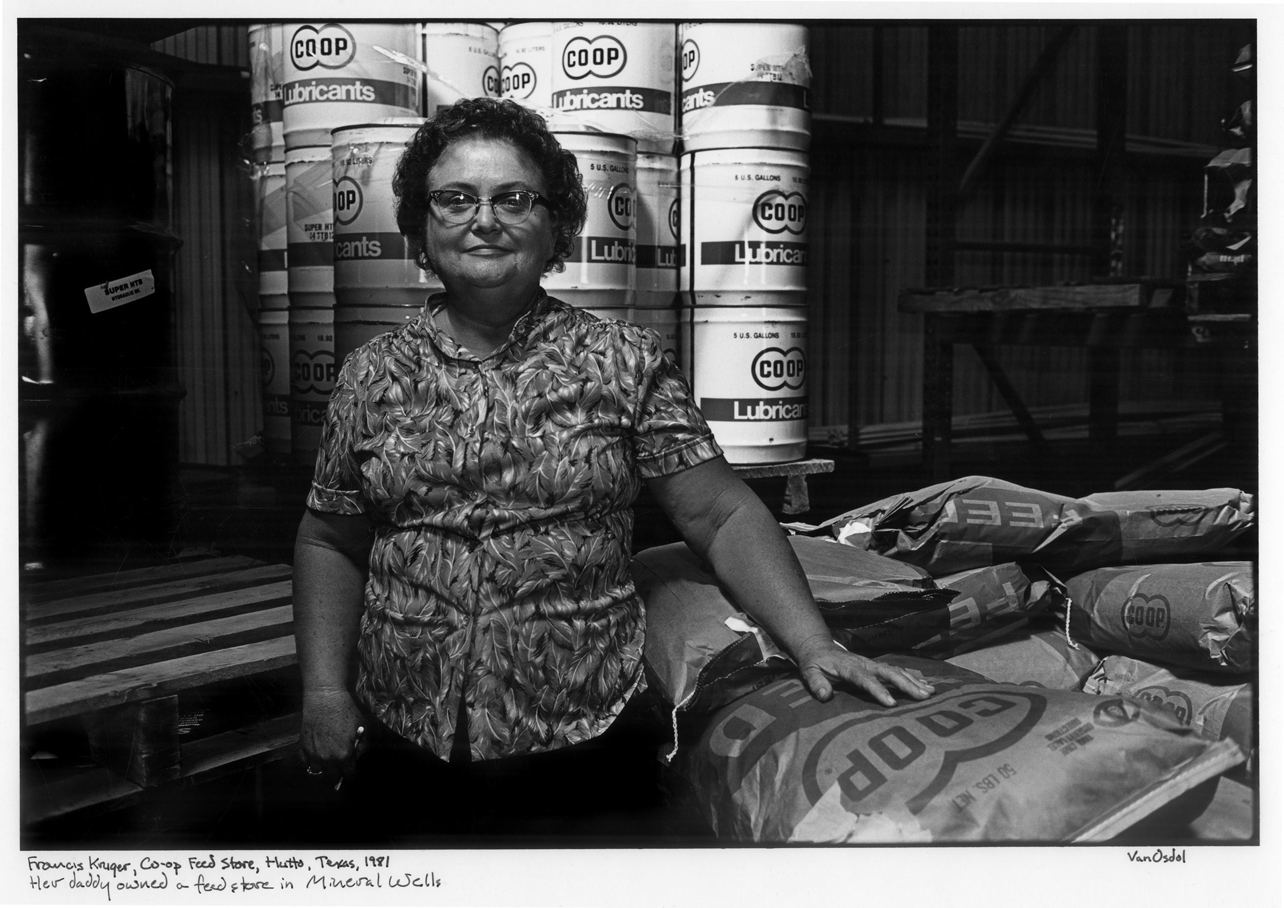 Fraceis Druger, Coop Feed Store, Hutton, Texas, 1981