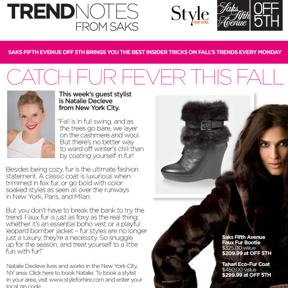 OFF FIFTH BY SAKS FIFTH AVENUE  Catch Fur Fever this Fall