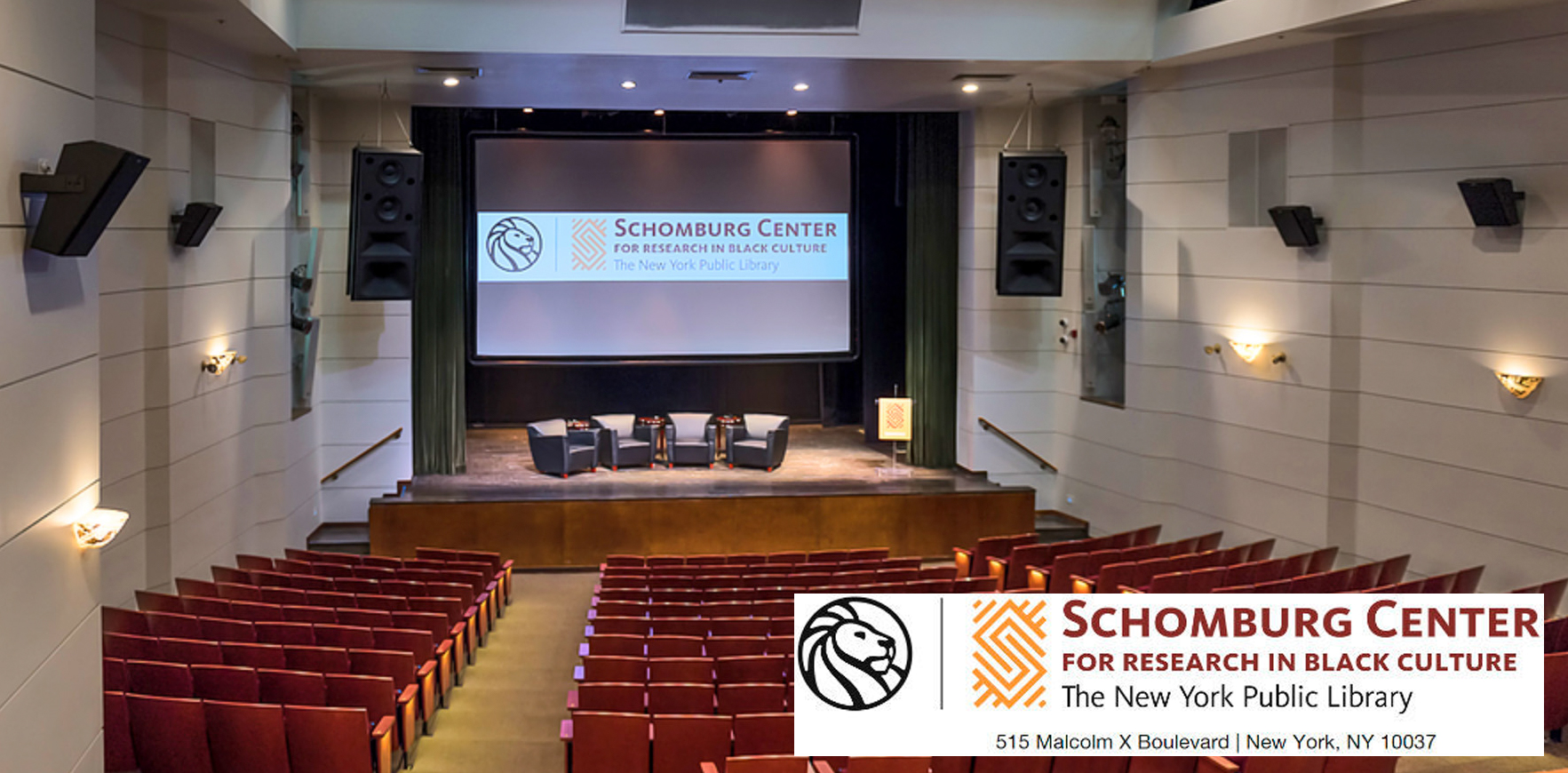 Sound system integration, tuning, UX, for the  Schomburg Center  Theater, Harlem, NYC.