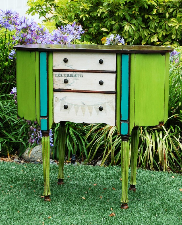 Decoupaged Sewing Cabinet