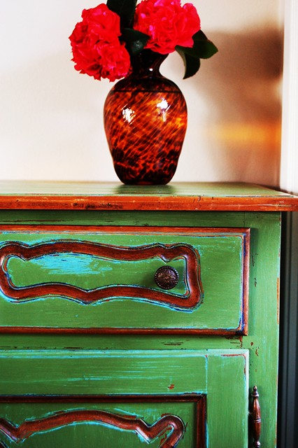 Green French Cabinet Detail