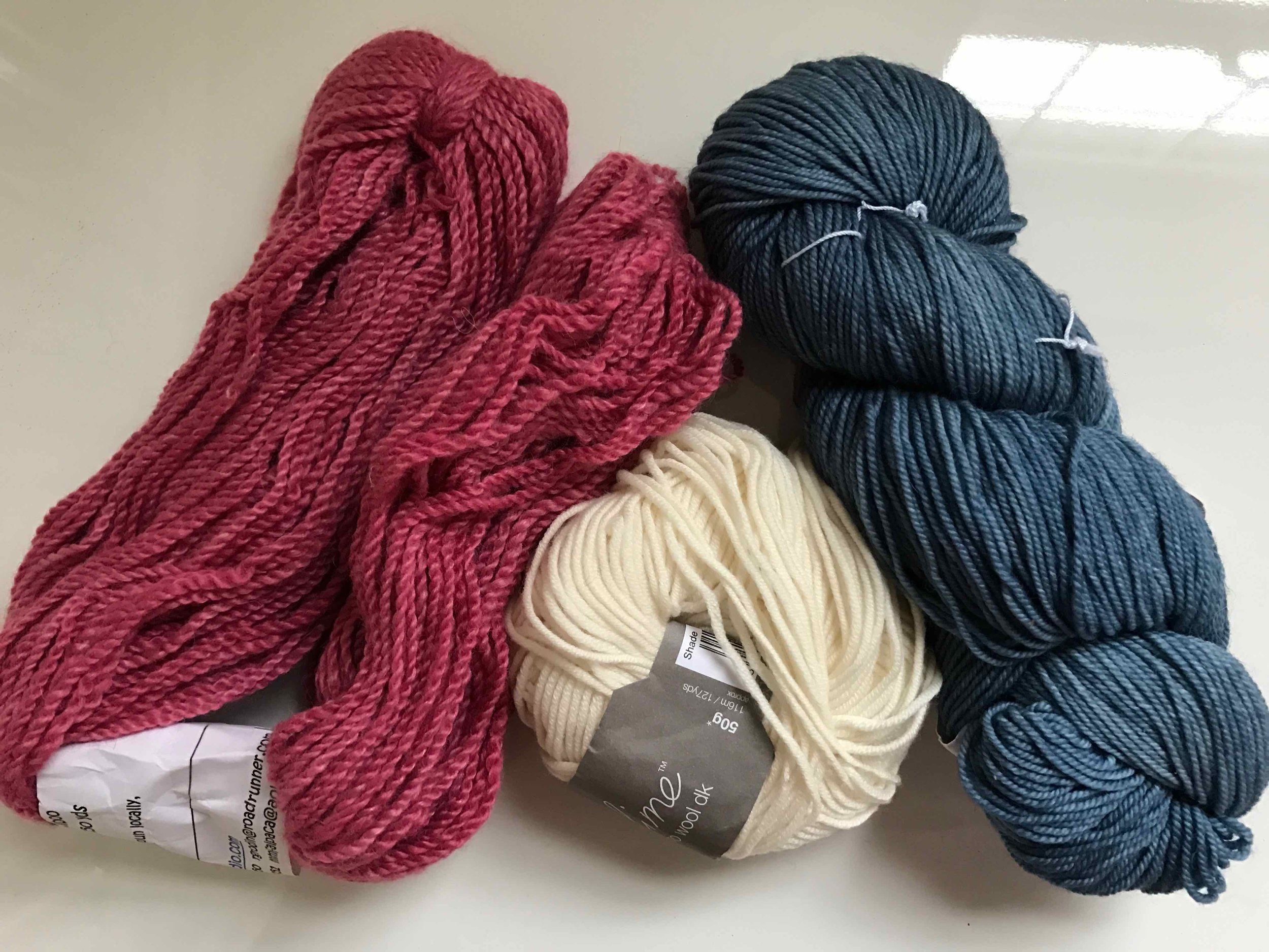 A combination of Sublime extra fine merino wool dk with either madelinetosh tosh sport or Alpaca fibre studio baby alpaca yarn with 20% bamboo