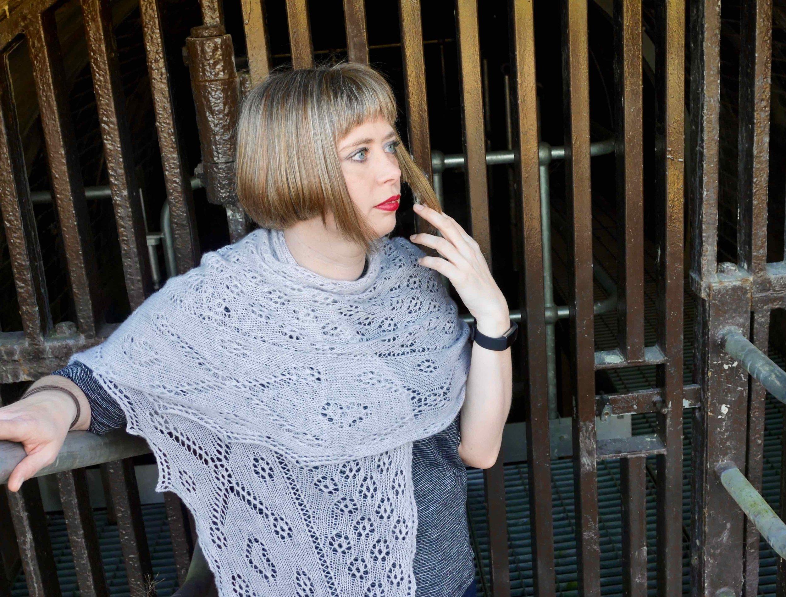 Tico shawl worn as a scarf