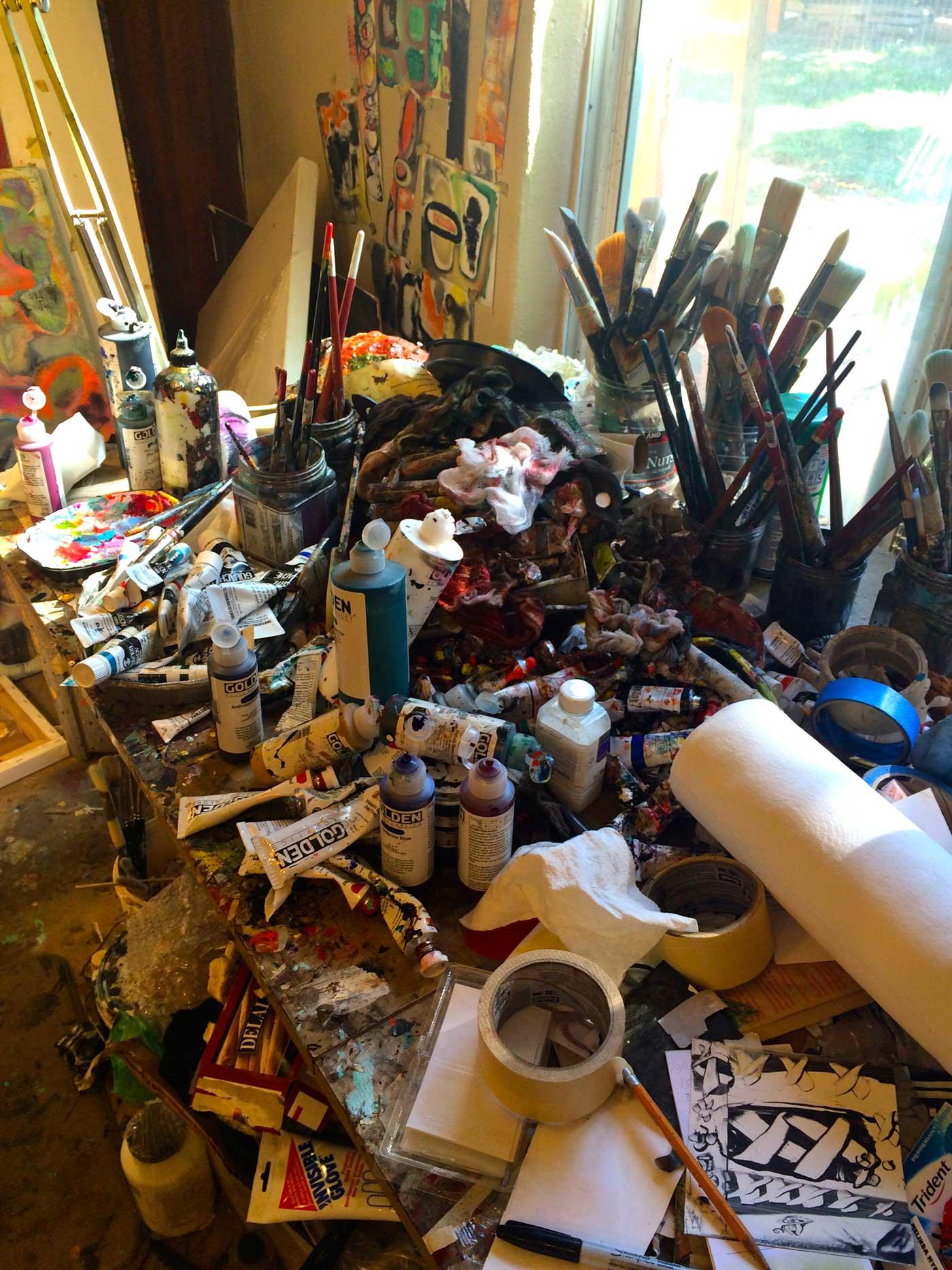 Work materials in the studio of the talented Melinda Myrow