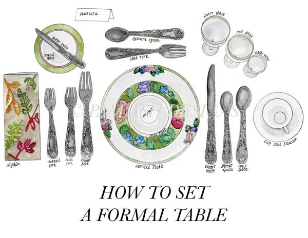 In regards to the silverware, the rule of thumb is to work your way from the outside in. Plan your silverware in accordance with what you serve. In this example we start with a fruit cocktail (Note the cocktail fork on the far left.) followed by a soup (See the soup spoon on the far right?). Next comes a salad...you get the point. If you are really being a stickler, be sure to point the knife blade inwards towards your plate.