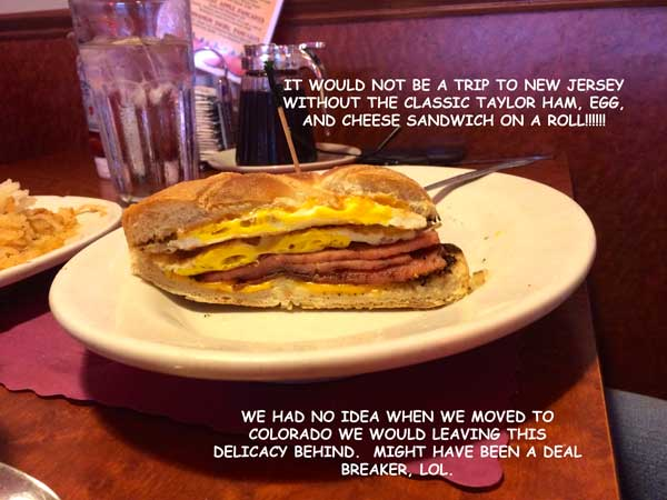 O.K., I can not leave the diner without also including this New Jersey tradition......the taylor ham, egg, and cheese!!!!