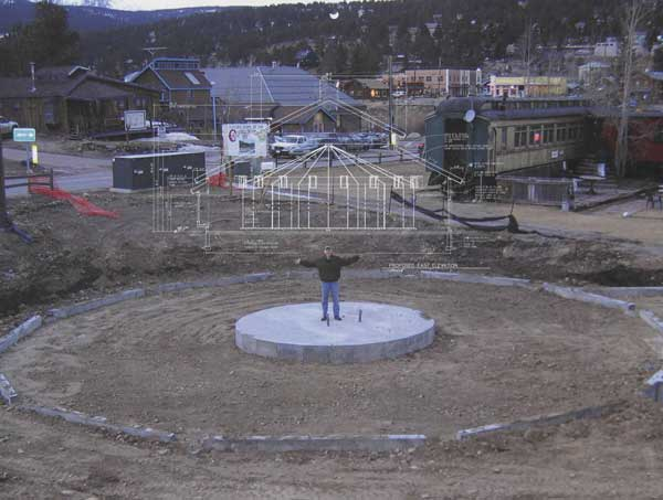 It was necessary for the carousel to be built in the winter time (If you are familiar with winter weather in the mountains, then you know the riskiness of this proposition.) Amazingly, the weather held out and the foundation was built. (Photo courtesy of the Carousel of Happiness, James DeWalt, Tom Walker and Kay Turnbaugh).