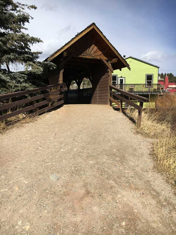 This is a quaint covered bridge in the town of Nederland.