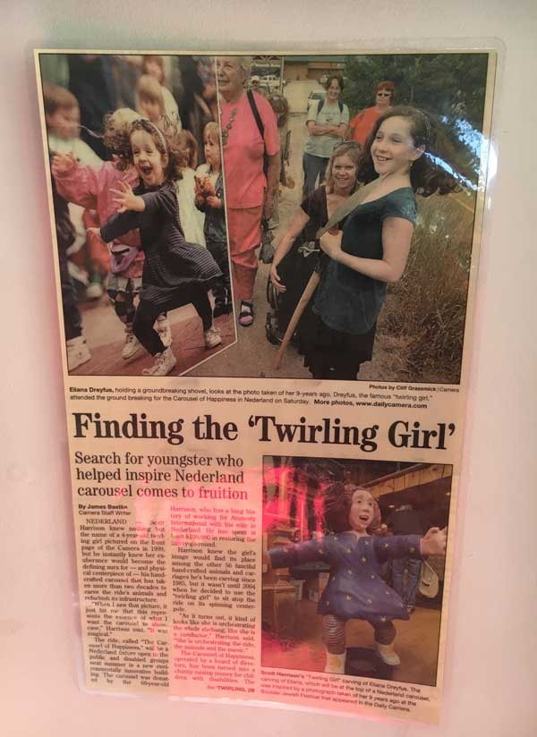 There are articles that line the walls in the carousel building with the story of the twirling girl. She has ridden the carousel many times!