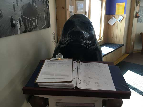This guy greets you with a guest book.
