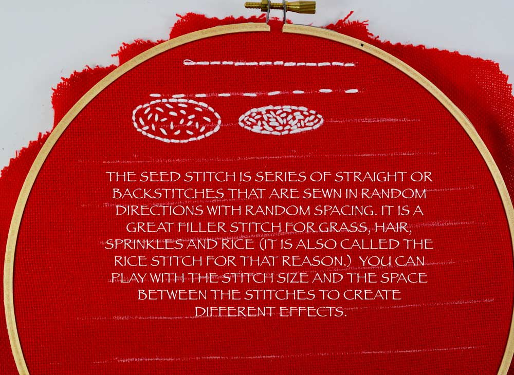 For a more detailed tutorial on how to make the SEED STITCH and a FREE PRINTABLE click  HERE.