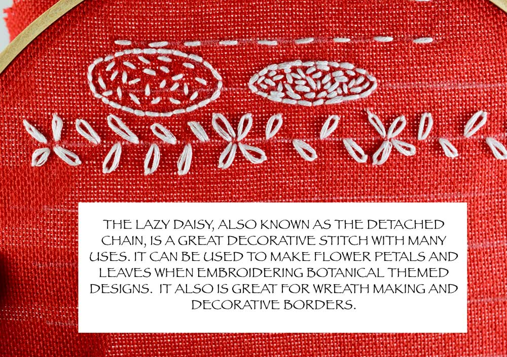 For a more detailed tutorial on how to make the LAZY DAISY stitch, click  HERE .