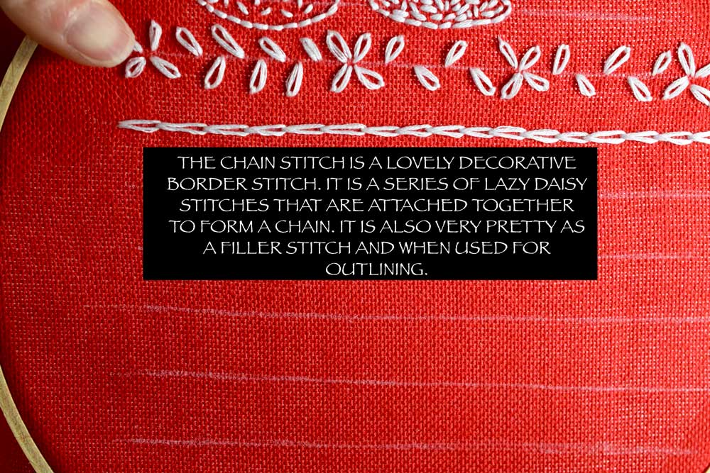 For a more detailed tutorial on how to make the CHAIN STITCH, click  HERE .