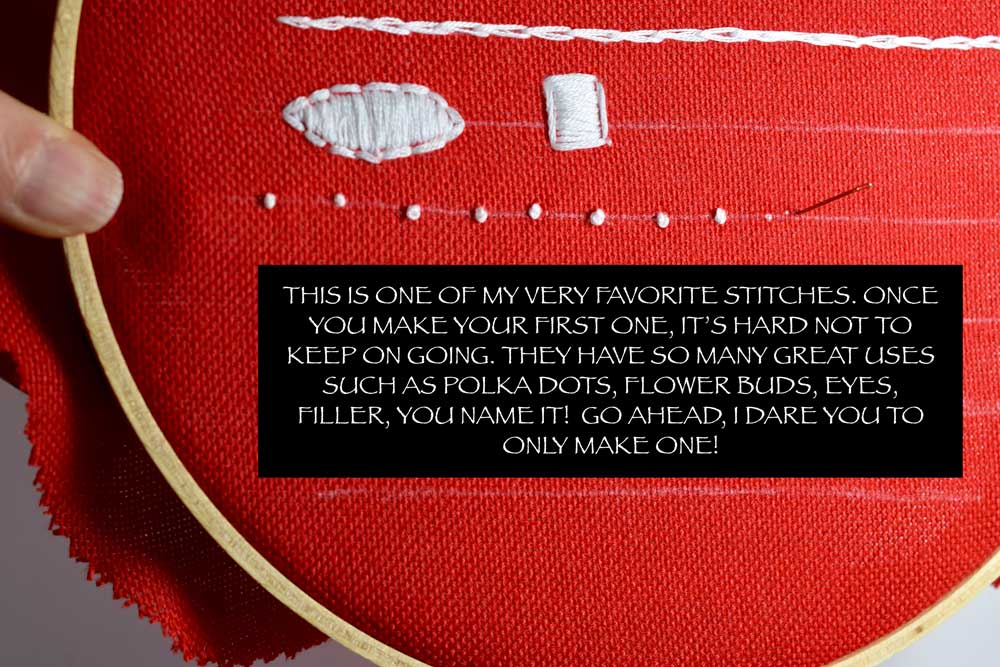 For a more detailed tutorial on how to make the FRENCH KNOT and a FREE PRINTABLE click  HERE.