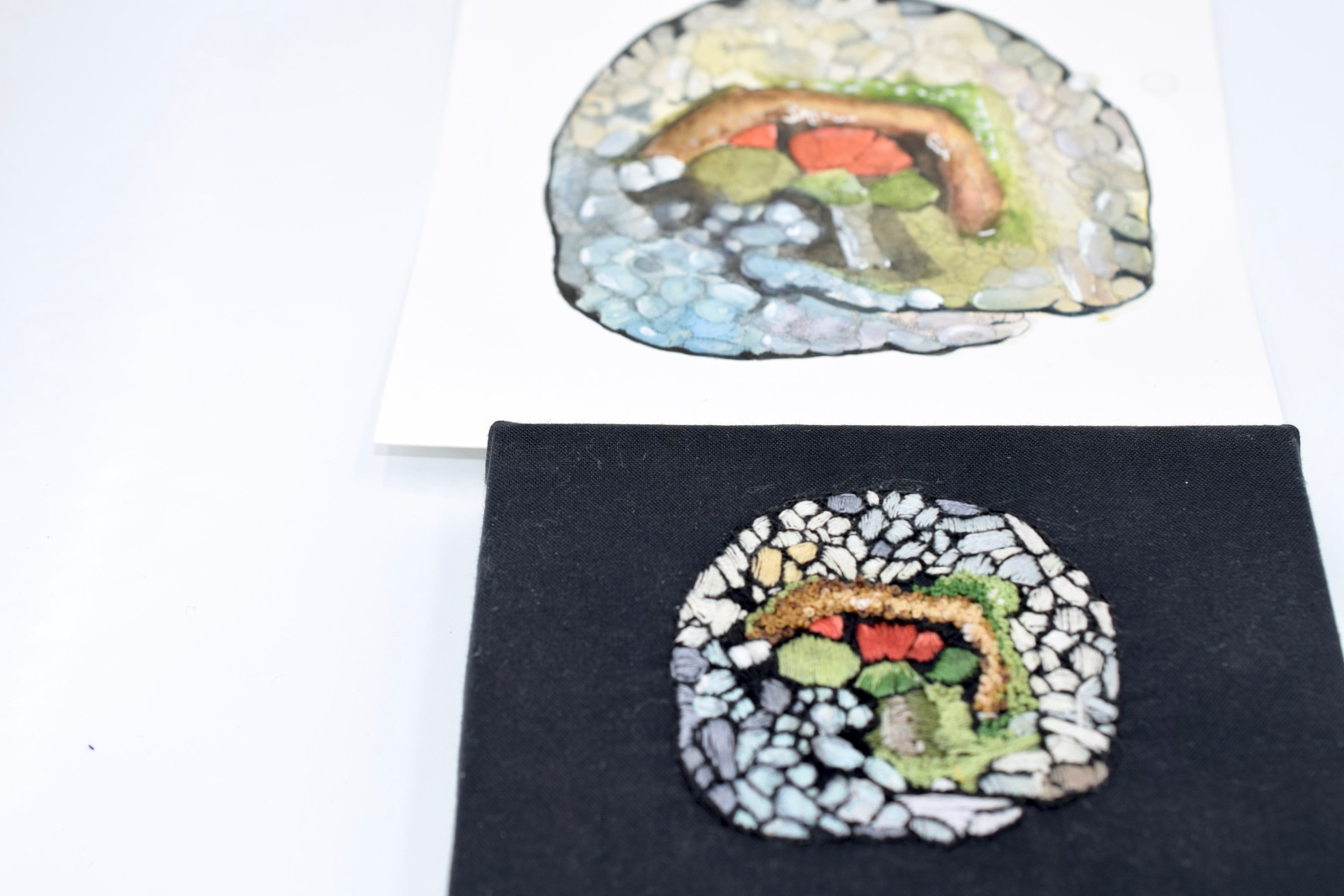 EMBROIDERED PAINTING: I used various stitches to recreate my watercolor painting into an embroidered painting.