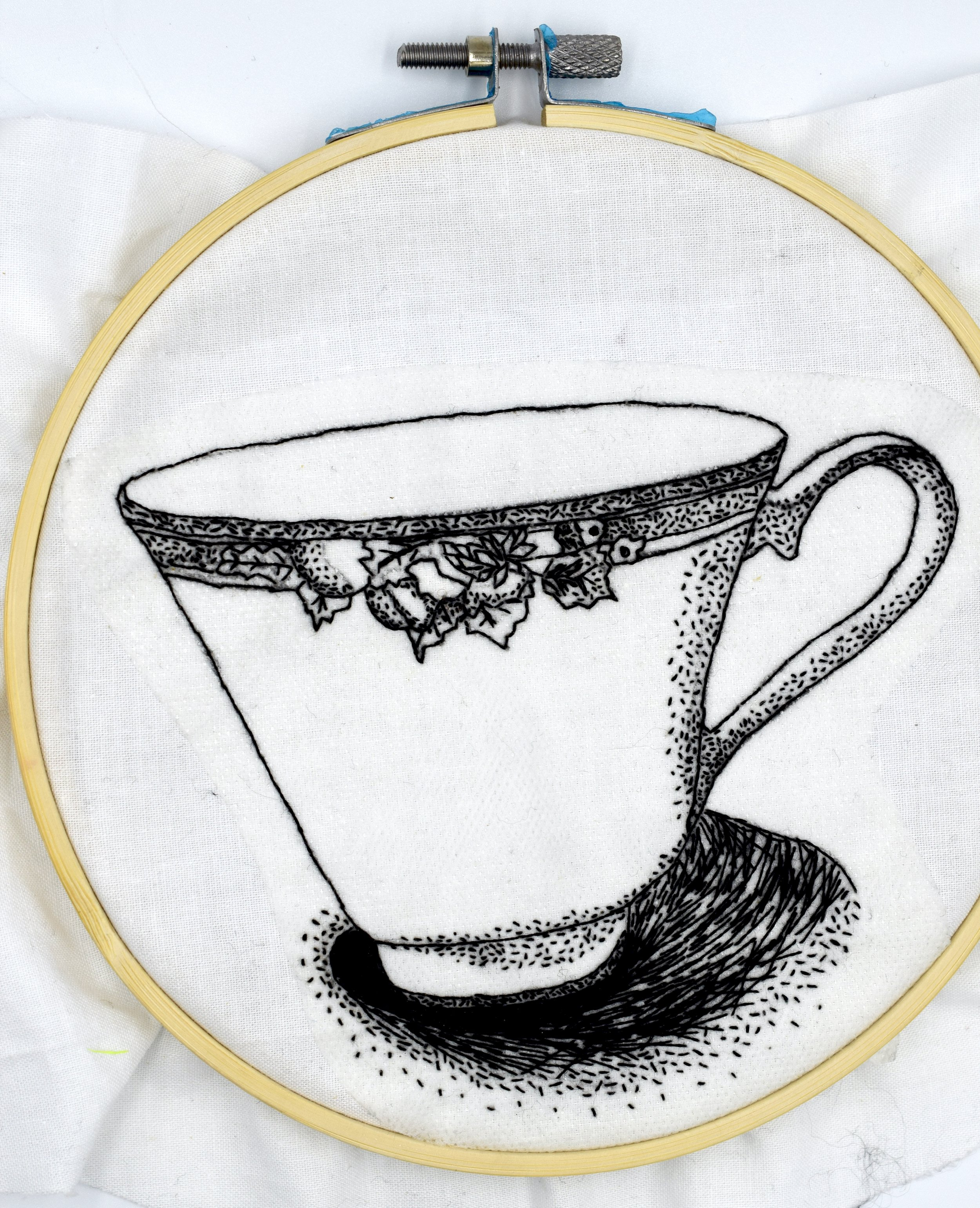 EMBROIDERED STIPPLING; USING A SINGLE THREAD, I CREATED A DETAILED EMBROIDERED DRAWING WITH STIPPLING