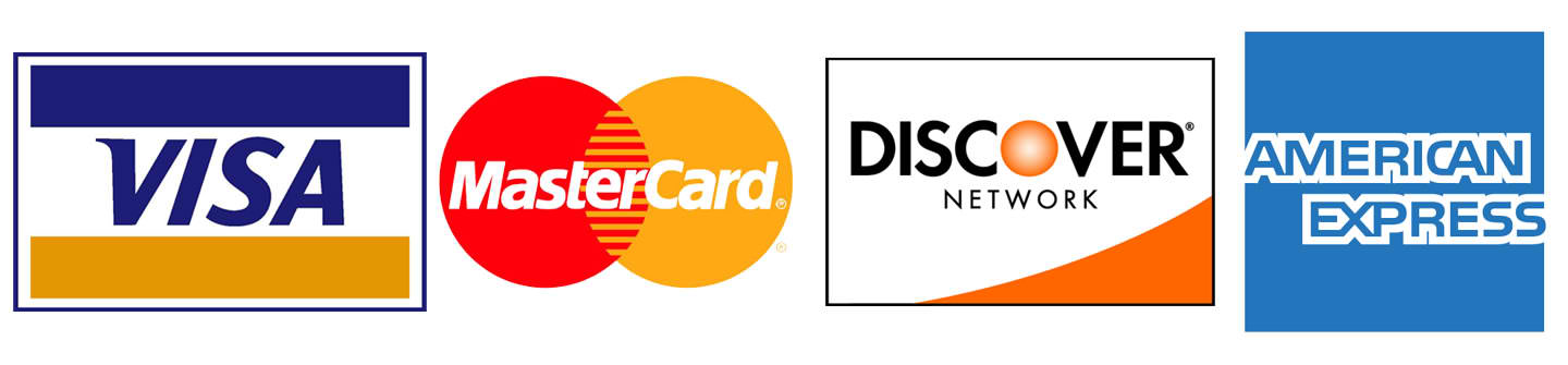 For our customer's convenience we accept all major forms of payment including Visa, MasterCard, Discover, and American Express.