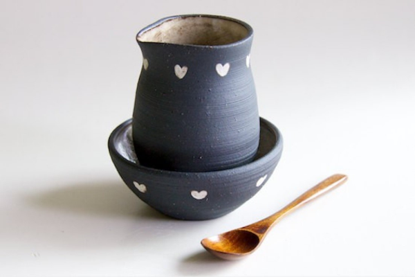 Heart Creamer + Sugar Bowl Set $48 by   Rosslab