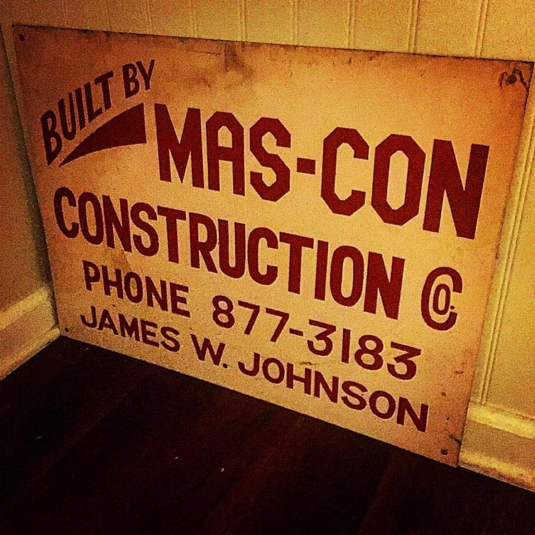 "Original ""Mas-Con Construction"" sign from the 1960s"
