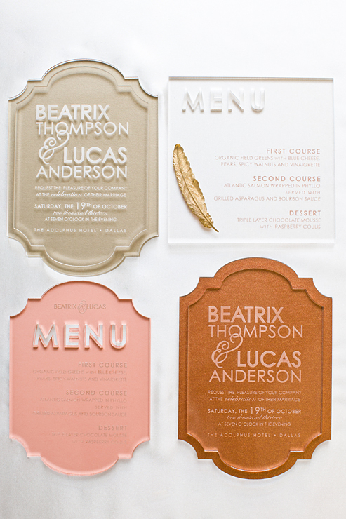 Menus by  Southern Fried Paper . Photo by  Thisbe Grace Photography .
