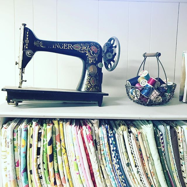 I've been working on cleaning out the fabric hoarding situation. I've been trying to tell myself if I haven't used it for YET it's going goodbye! . . . #fabrichoarder #craftroom #sewing #mompreneur #sewingmachine #antique #sewingtherapy #sewingroom #organization