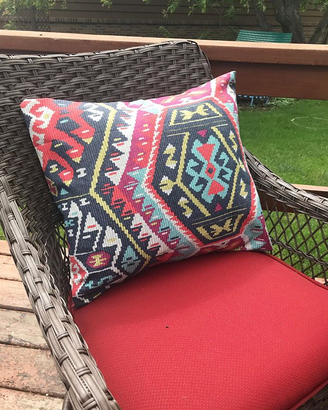 Finally sewed some new pillows for our deck. Sometimes the self care projects need to happen to foster creativity for others! . . . #sewforyou #makermom #handmade #makeahouseahome #northdakotaliving #mompreneur #summer #greatoutdoors