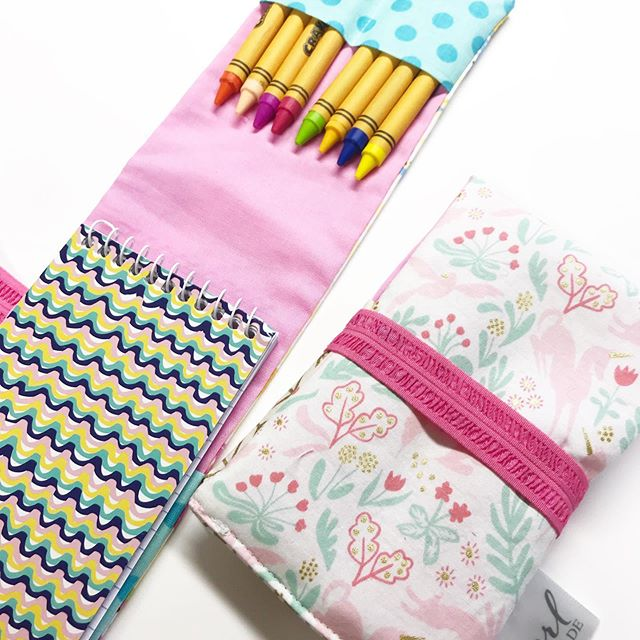 These fun little notepad/crayon travel packs need an actual name? Throw me all your ideas! . . . #travelwithkids #creativity #creativekids #handmade #madeinnorthdakota #shoplocal #gift #giftunder15 #fabricfun #fabric #sewdaily #mompreneur