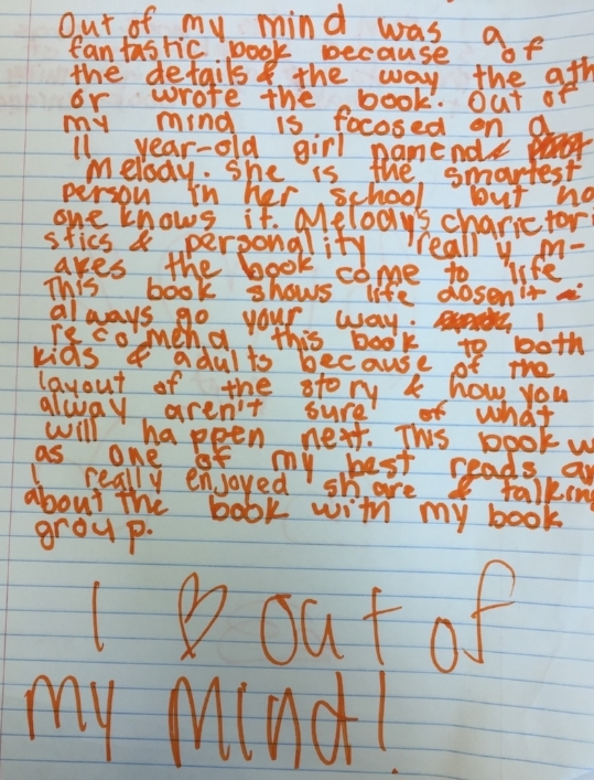 Student book review for   Out of My Mind  by Sharon Draper  after our book clubs wrapped up.