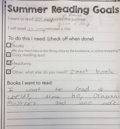 """A student's summer reading goals: """"read as many books as possible!"""""""