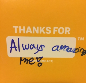 Thank you card from a student at the end of the school year.