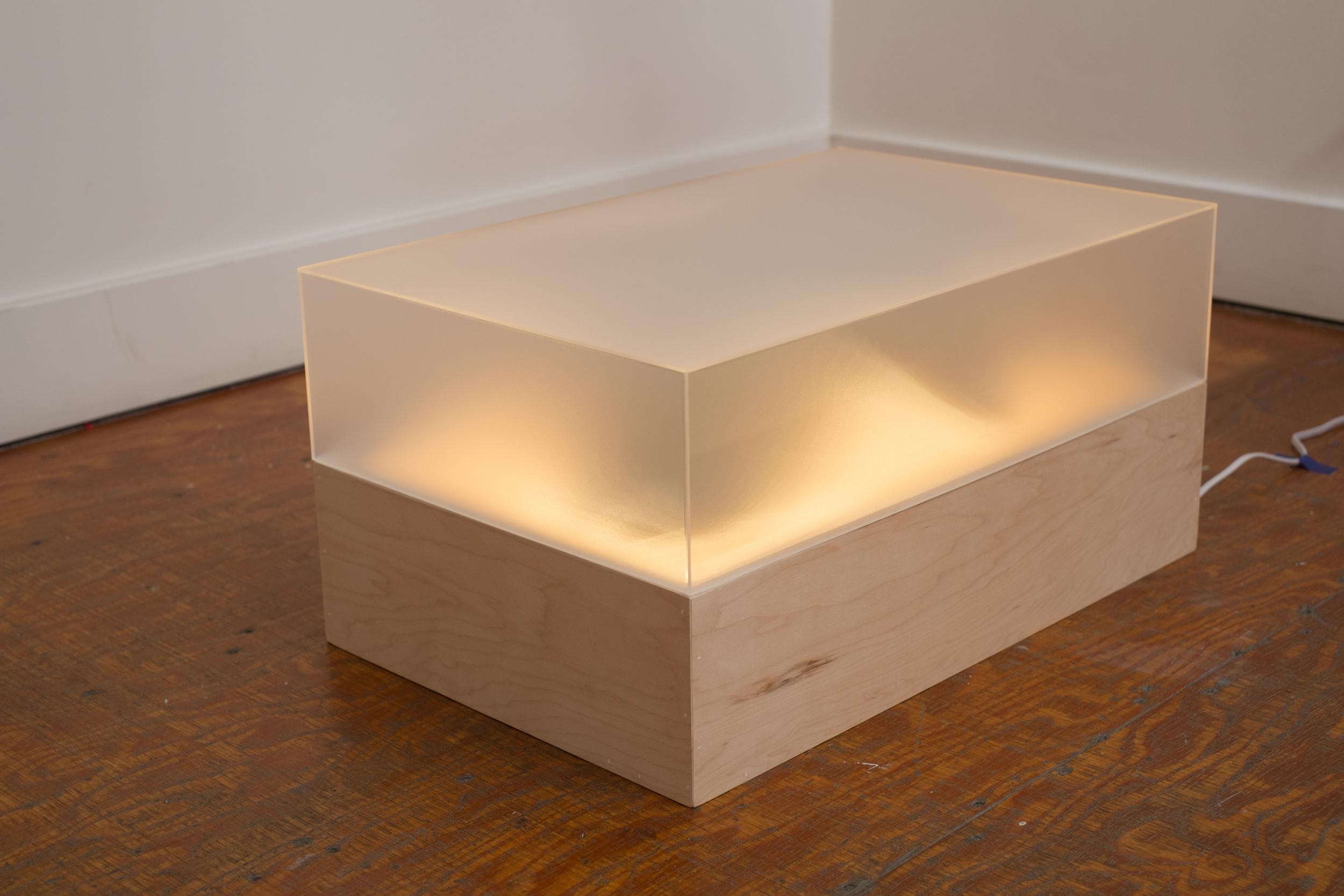 Luca Antonucci,  Ghost Victory  , 2015.    12 x 16 x 25 in.    Plexiglass  , wood, plaster, LEDs