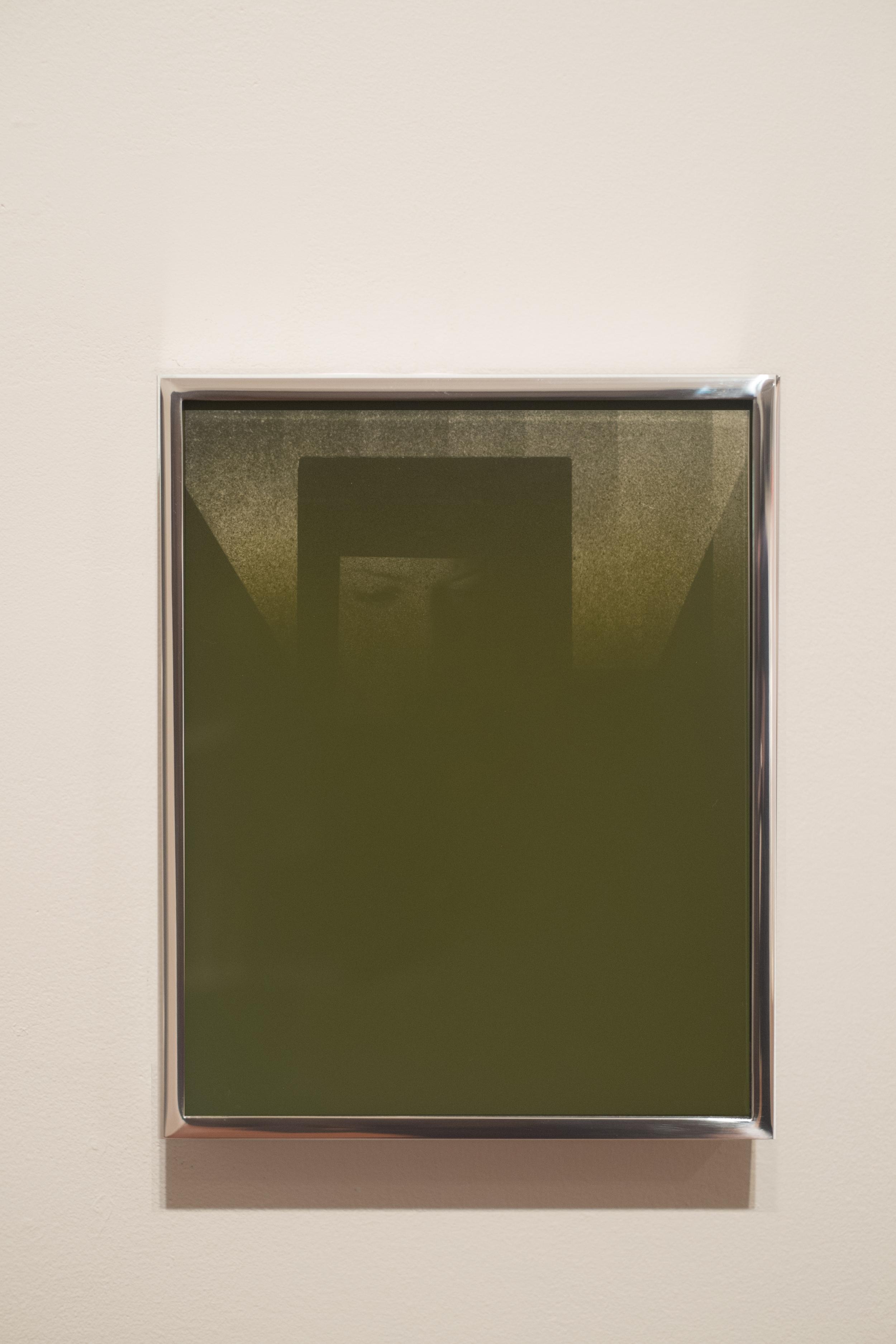 Ivan Iannoli,  Gillian  , 2014    8 x 10 in.    Acrylic spray paint on glass, gelatin silver prints