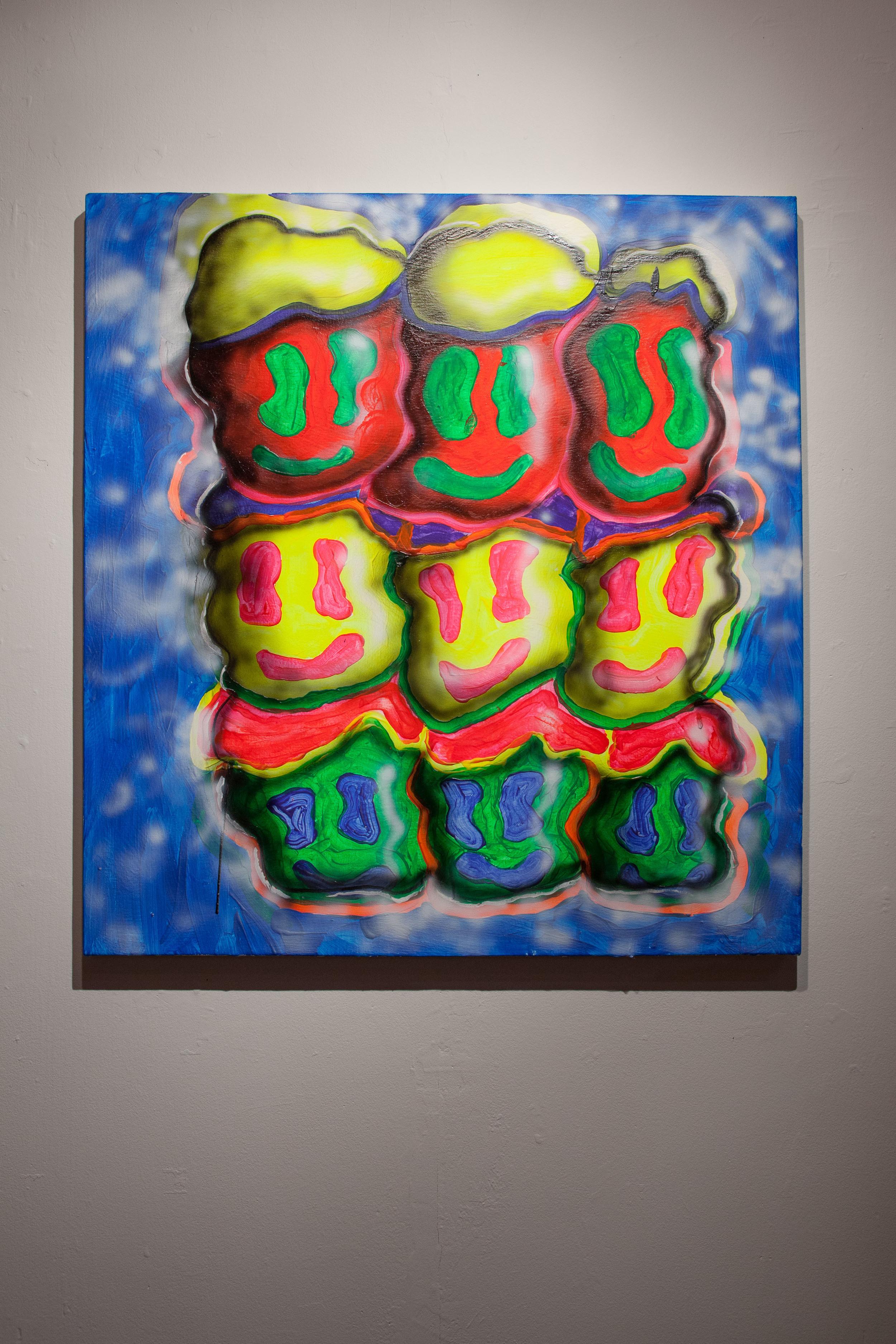 Royal Jarmon,  Synergy? , 2015  Acrylic and Enamel on Canvas, 32 x 30 x 1 1/2 in.