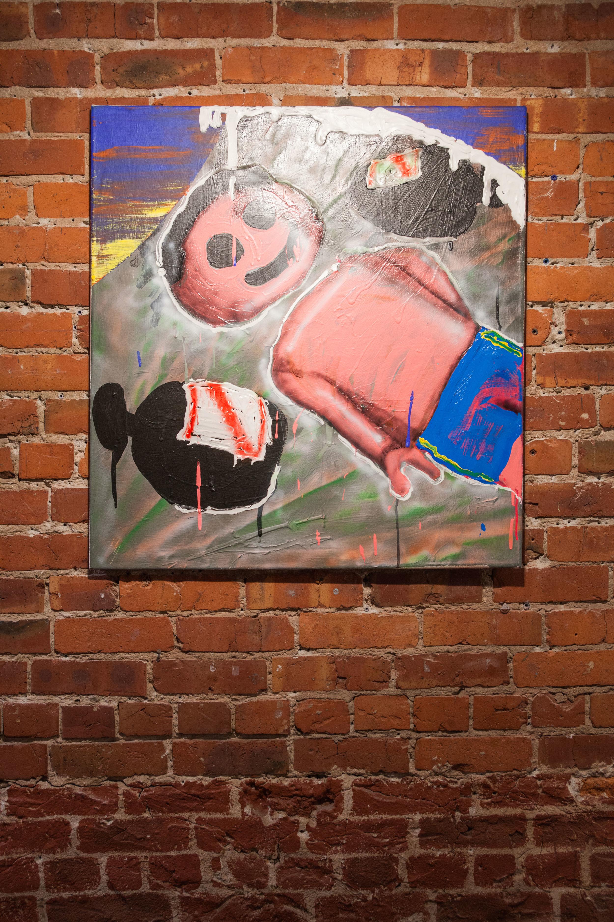 Royal Jarmon,  Break Fast , 2015  Acrylic and Enamel on Canvas, 32 x 30 x 3/4 in.