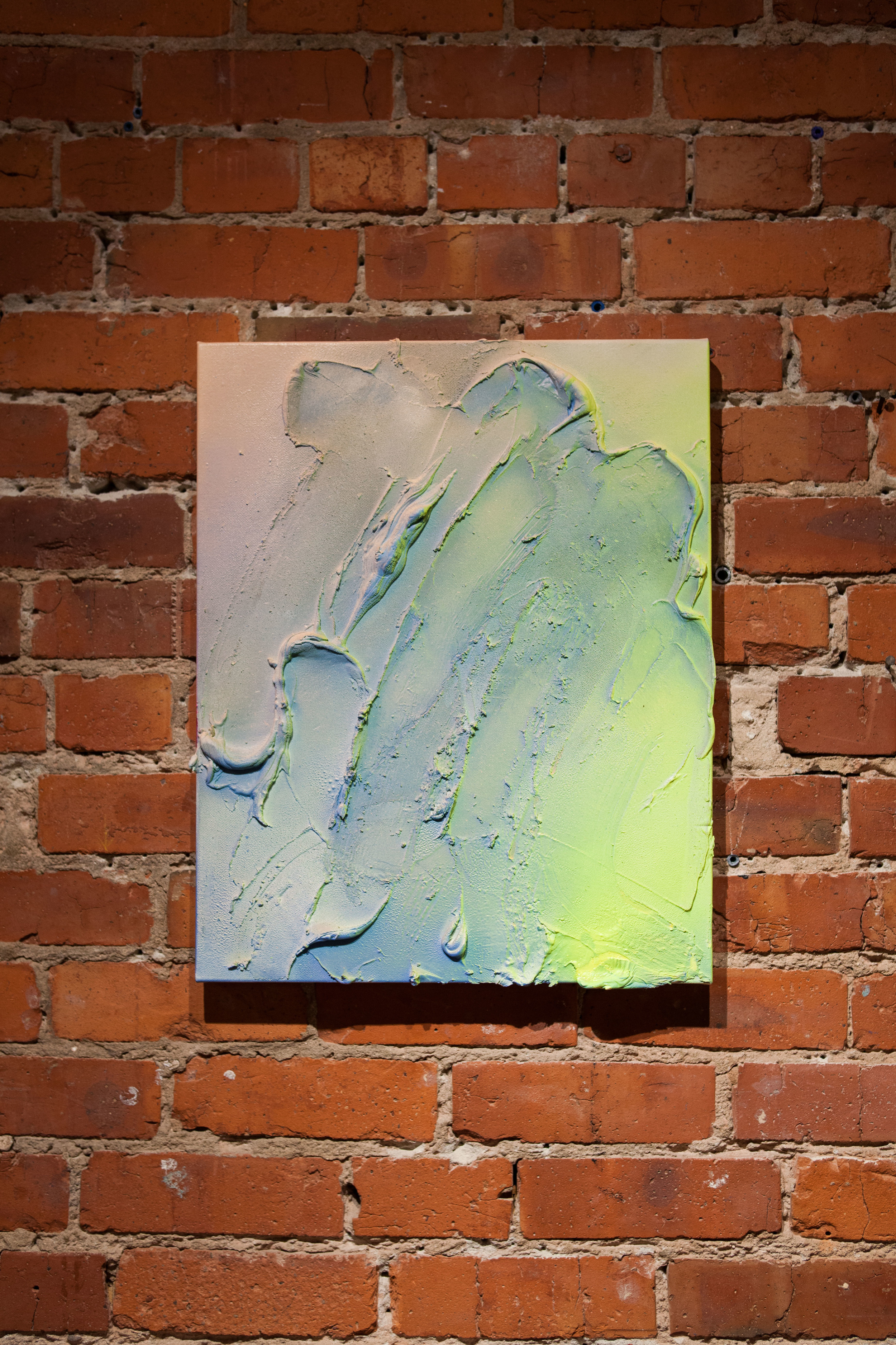 Delaney Lee,  Untitled , 2015  Aerosol and molding paste on canvas, 16 x 20 in.