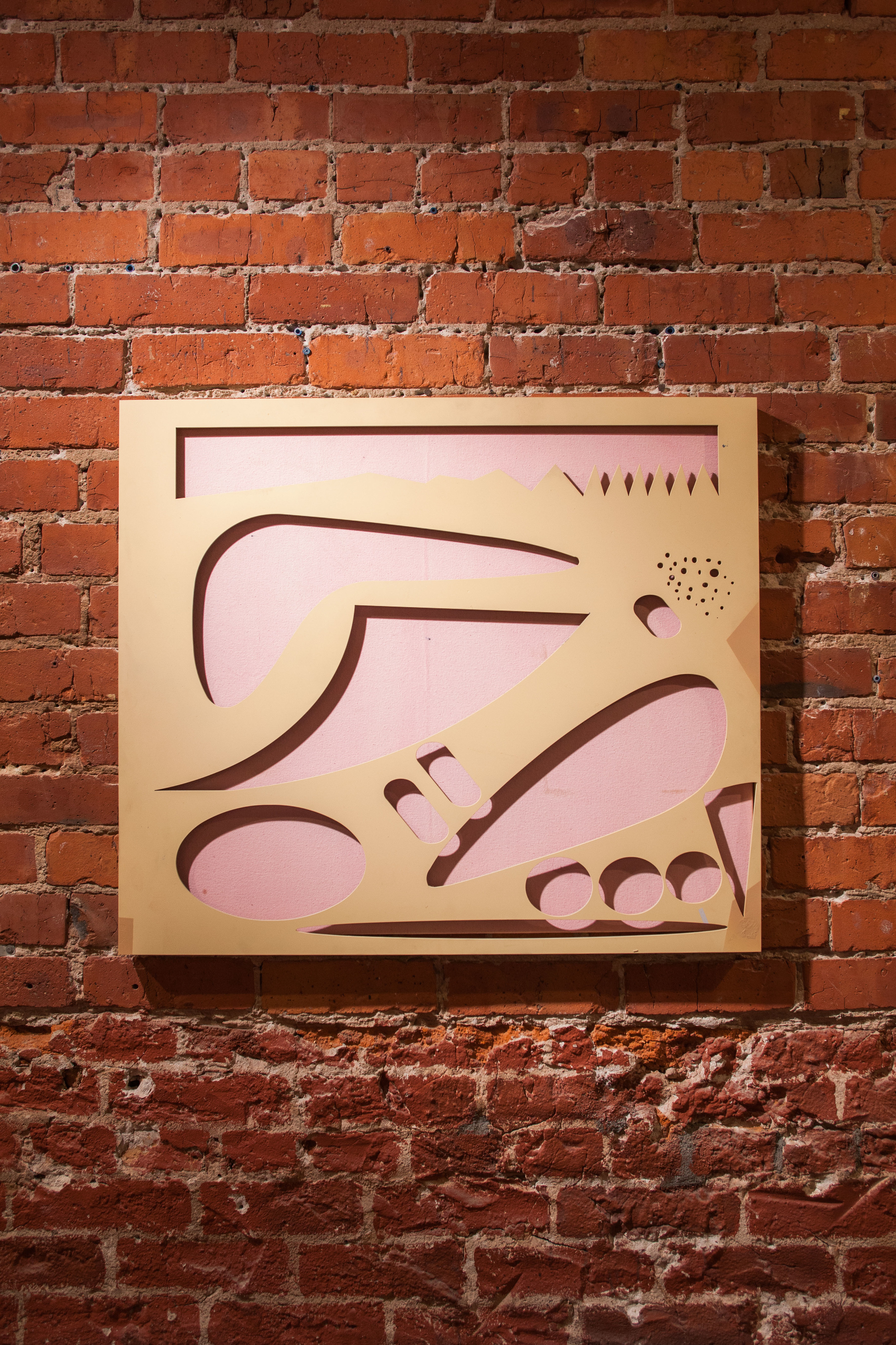 Micah Wood,  Morning Change (Out) , 2015  Water jet cut steel, acrylic, flashe, canvas, 30 x 26 x 1 1/2 in.
