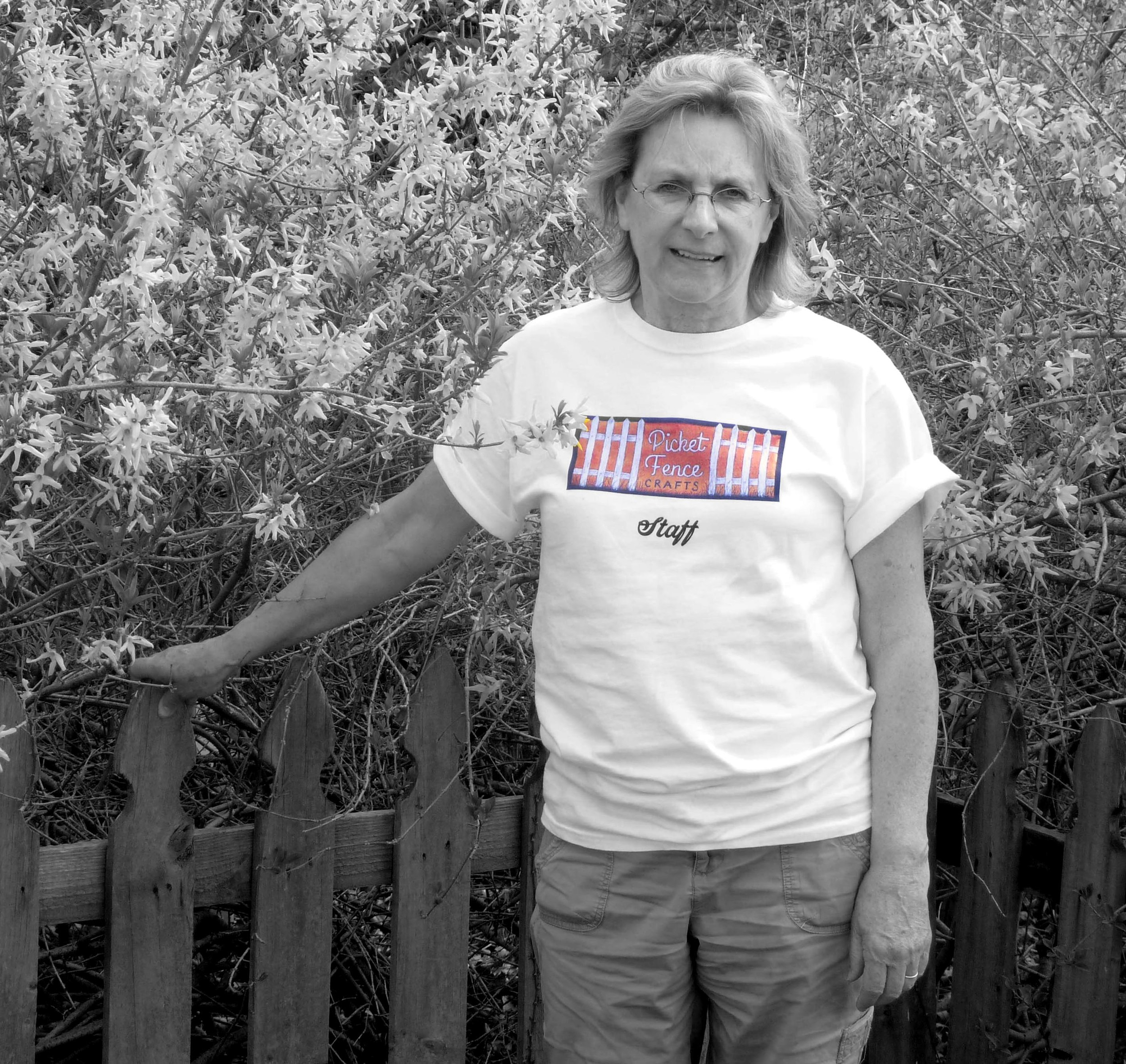 "This is my sister, Carol.  Although she doesn't live as close and helps out mainly during the holiday rush, she is an avid supporter of Picket Fence Crafts.  If you have made a purchase from Picket Fence Crafts, you know about the ""Scripture Seed"" packs that are sent out with each purchase.  Carol spent some time this last year crafting hundreds of seed packs for Christmas deliveries."