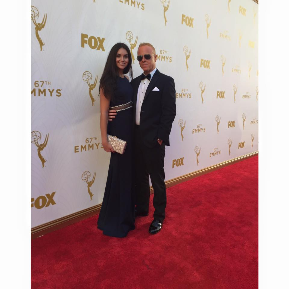 CHRIS YOUNG AND ARTIST KOURTNEY KELLY AT THE 2015 EMMY AWARDS IN LOS ANGELES