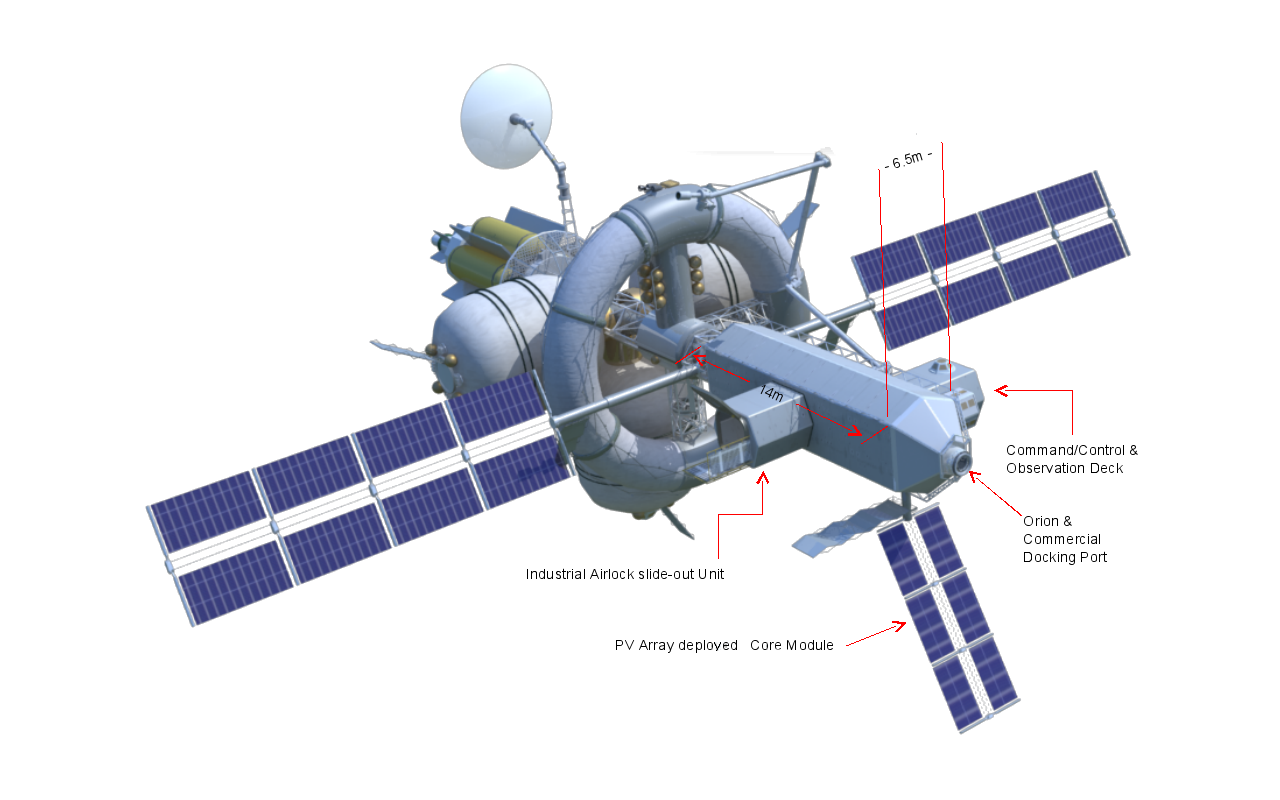The Nautilus-X is a multi-mission space exploration vehicle that acts as a mothership in combination with the Orion crew capsule.  Image Credit: Wikipedia