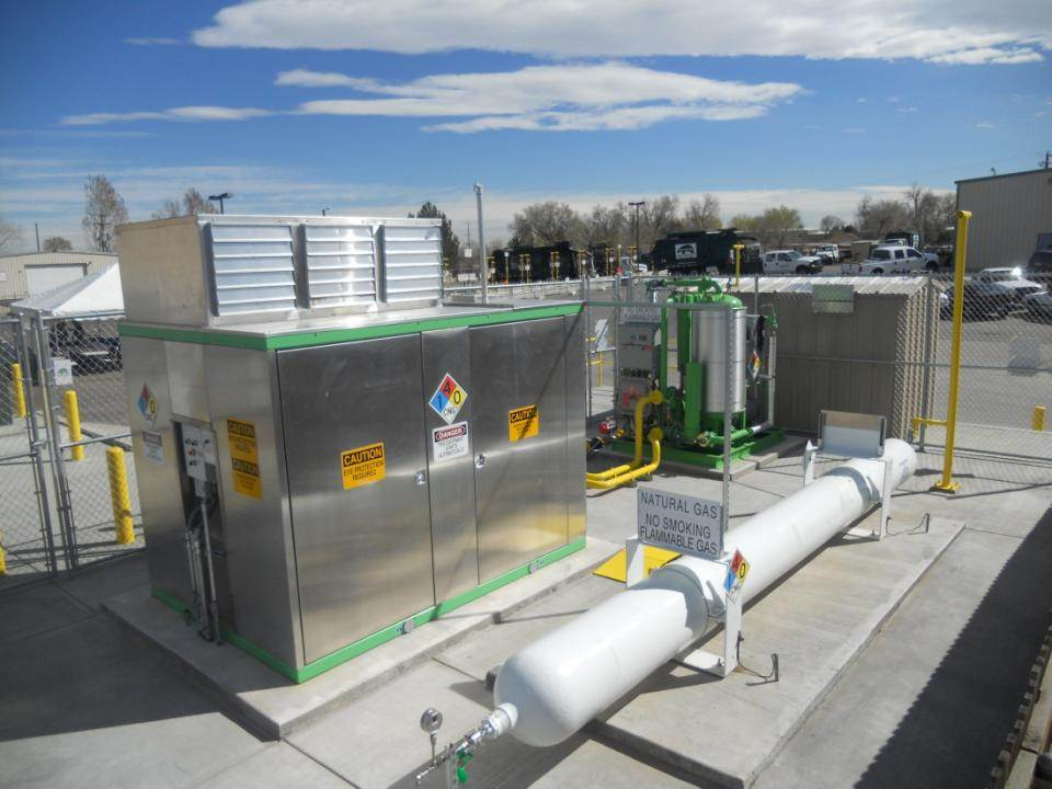 An IMW compressor, gas dryer, and storage system at a garbage truck fueling station. Image Credit: James Orsulak